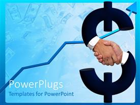 Colorful slides having shaking hands forming dollar sign and money bills with raising arrow on blue background