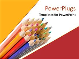 PPT theme featuring sharpened colorful pencils on geometric patterned yellow, white and red background