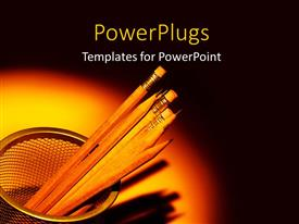 Elegant PPT theme enhanced with sharpened yellow pencils in pencil basket with light glow