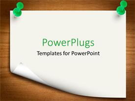 Presentation theme having sheet held with two green pins on brown board