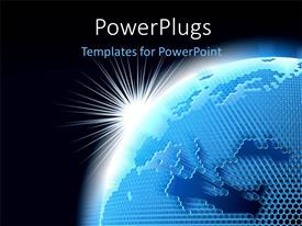 Amazing PPT theme consisting of a shinning light over a blue earth on a black background