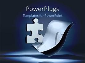 Elegant presentation theme enhanced with shinny puzzle piece over two metallic sheets on blue background