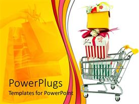 PPT layouts enhanced with shopping cart with three colorful gift boxes with beautiful ribbons on white background and woman hand holding nice shopping bags on yellow background