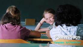 Colorful presentation design having a short video of some school kids in a classroom - widescreen format