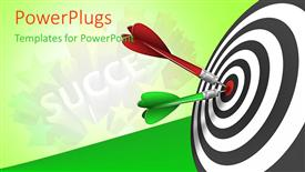 Beautiful slides with red and green tailed darts stuck in bulls eye of success target