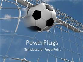 Beautiful presentation with shot of a foot ball entering into a goal net