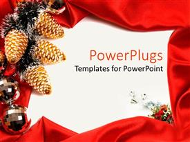 Colorful PPT theme having sic yellow and black Christmas ornaments on a white surface