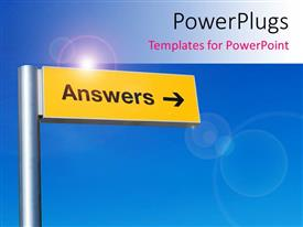 Colorful slide set having the sign of answers with bluish background