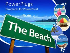 PPT layouts having a sign of the beach and sea in the background