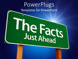 Beautiful PPT theme with the sign of a fact with bluish background and place for text