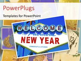 Elegant PPT layouts enhanced with a sign of happy new year with a white background