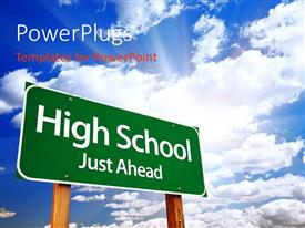 50 high school reunion powerpoint templates w high school reunion ppt theme with a sign and a number of clouds in the background toneelgroepblik