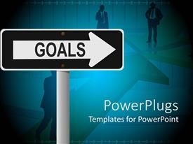 PPT layouts having sign post directing towards goal with men at crossroad