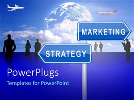 PPT theme featuring a sign post with two blue boards and text that spell out the words
