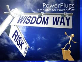 Elegant presentation enhanced with the sign of wisdom way and risk in different directions