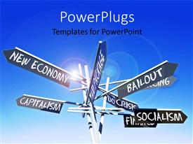 Presentation theme having signpost with world economy related terms over blue sky