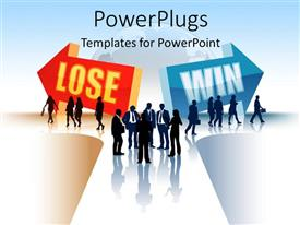 PPT theme consisting of silhouette of business people threading LOSING and WINNING path