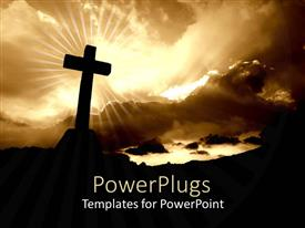 Presentation design enhanced with silhouette of cross with bright glow of light from cloudy sky