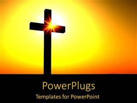 Beautiful PPT theme with silhouette of cross in orange sunset yellow black background