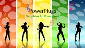 PPT theme featuring a group of dancing girls with colorful background