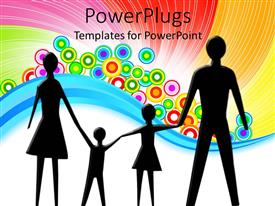 Audience pleasing slide set featuring a silhouette of a family of four on a colorful background