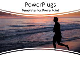 Presentation design enhanced with silhouette of man running to the sea water at sunset