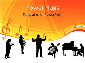 Beautiful PPT theme with silhouette of orchestra with conductor and music notes with symbols