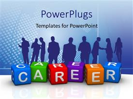 Colorful presentation having silhouette of people with colored tiles forming word CAREER