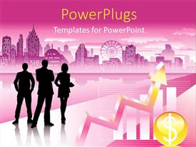 Elegant presentation design enhanced with silhouette of people over pink themed urban city with graphs and charts