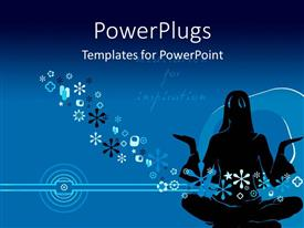Amazing PPT theme consisting of silhouette of woman doing yoga over blue background with snow flakes