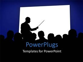 Colorful presentation theme having silhouettes in a business presentation with a white board