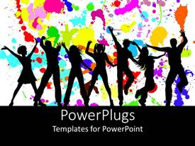 PPT theme having silhouettes of dancing party goers, white background splattered with bright colors