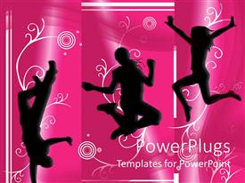 Theme having silhouettes of people dancing and jumping on pink background, music, fun, celebration, party