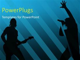 Audience pleasing slides featuring silhouettes singing and playing guitar with blue color