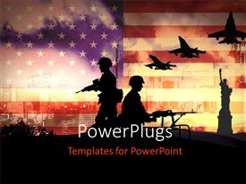 Presentation design enhanced with silhouettes of any Soldiers in new York with american flag in background