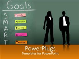Amazing slide deck consisting of silhouettes of two business people in front of blackboard with SMART Goals sticky notes