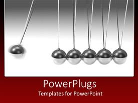 Amazing theme consisting of silver 3D pendulum with swinging ball and five standing balls on gradient gray to white and red background