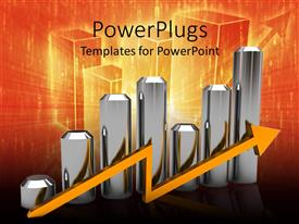 Beautiful PPT theme with silver bar chart with orange arrow, orange and black background