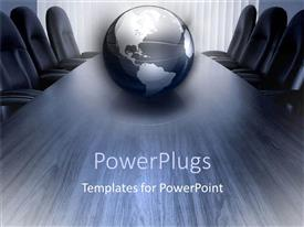 Presentation design enhanced with silver and black globe on conference room table surrounded by empty chairs