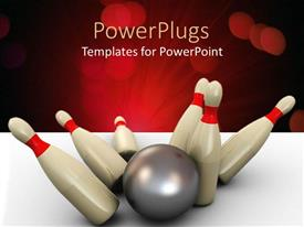 PPT theme featuring silver bowling ball knocking down 3D red and white pins