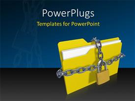 PPT theme consisting of silver chain and padlock protecting yellow folder icon from unauthorized access