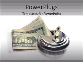 Presentation design featuring silver colored key knob holding down on dollar bills