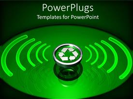 Amazing presentation design consisting of silver colored recycle symbol with green radiation around it
