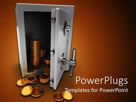 Colorful slide deck having silver colored safe opened with stacks of golden coins flowing out of it