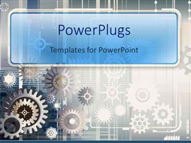 Audience pleasing PPT theme featuring silver and copper gears on gray background