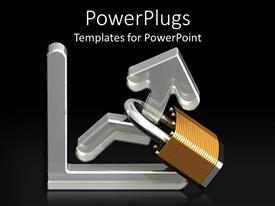 Amazing PPT theme consisting of silver graph with a metallic padlock on a black background