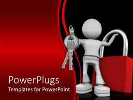 Elegant presentation theme enhanced with silver man holding keys and red lock with red black wave background