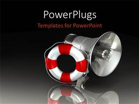 Presentation theme consisting of silver megaphone with red and white lifesaver over reflective background