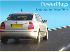 Presentation design consisting of silver salon car with yellow plates travelling on clean road