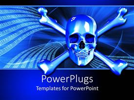 Audience pleasing PPT theme featuring silver skull and crossbones on binary background